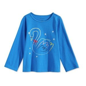 NWT First Impressions Blue Long Sleeve Swan Top 2T